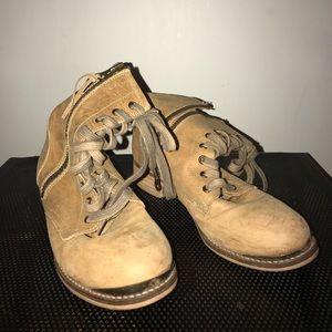 Rustic tan combat boot